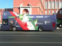 Il bus degli atleti azzurri pronto per il Quirinale